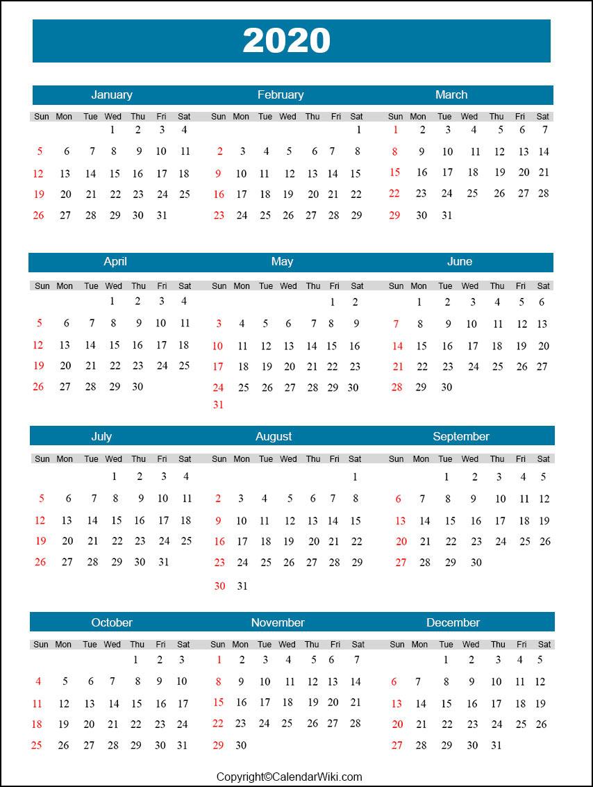 Full Year Calendar 2020
