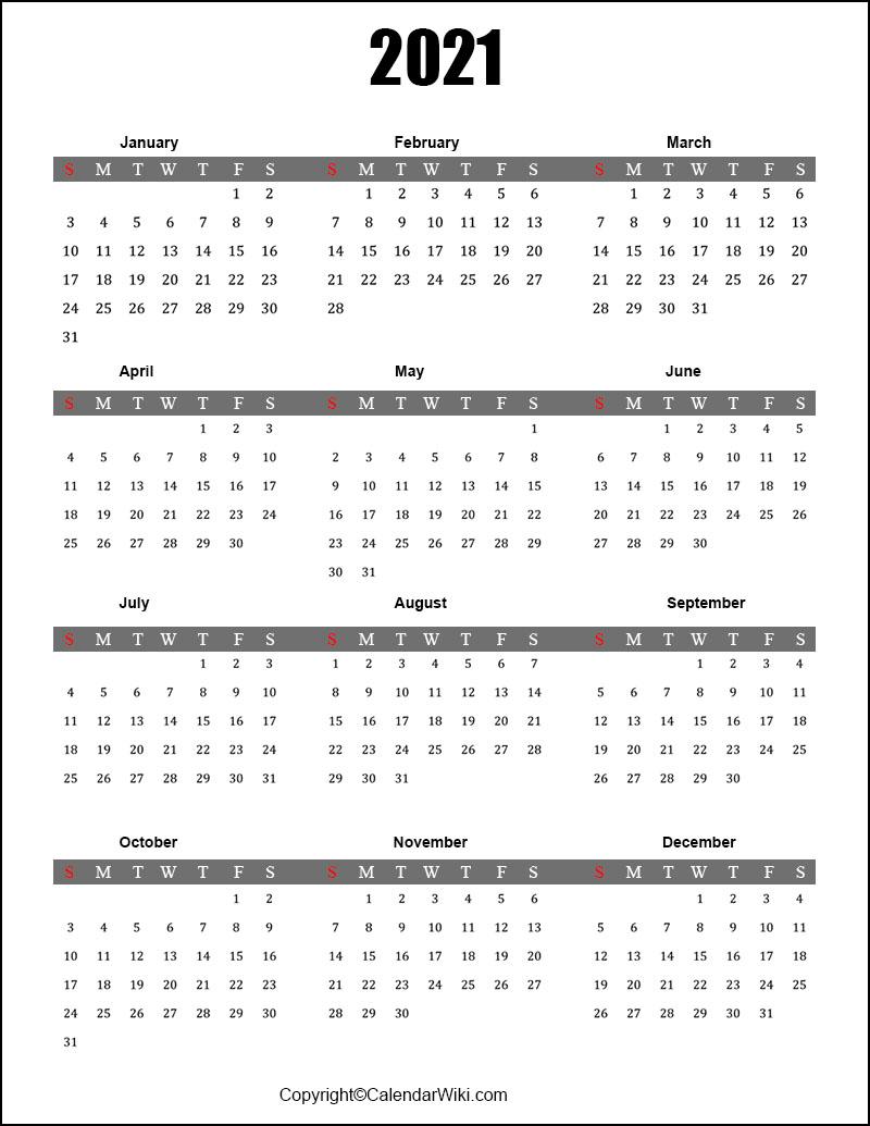 Full Year Calendar 2021