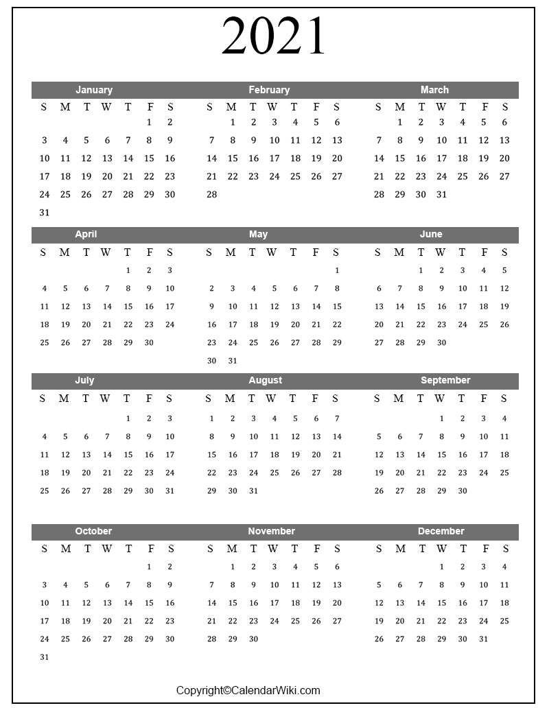 Free Printable Calendar 2021 Templates PDF, Word