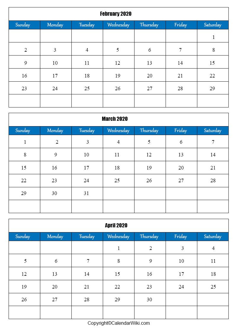 February March April 2020 Calendar