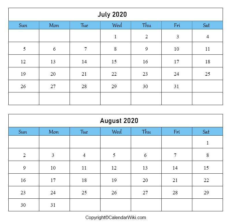 July August Calendar 2020