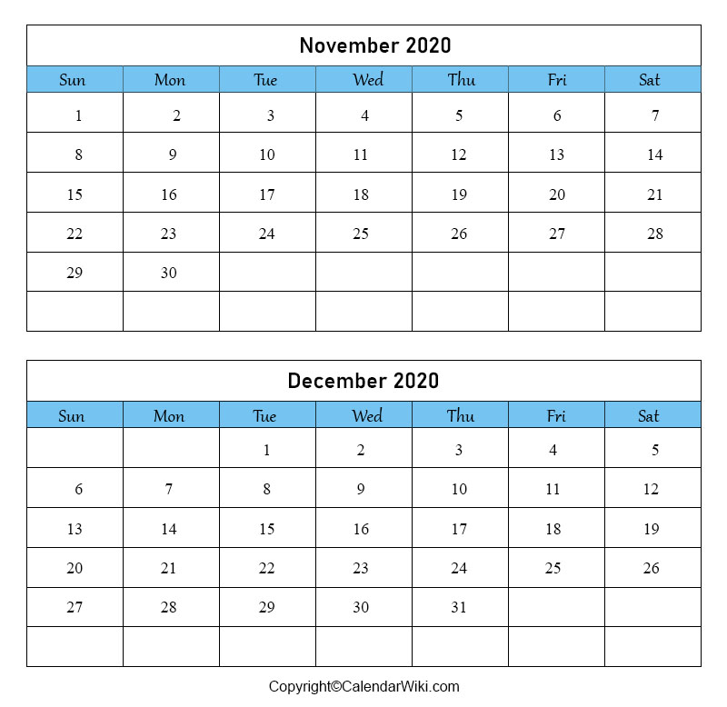 November December Calendar 2020