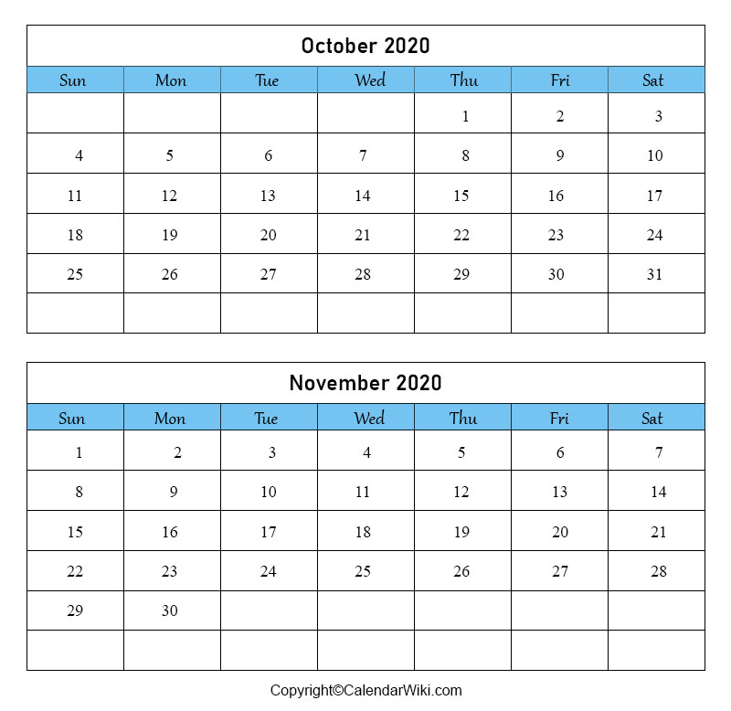 October November Calendar 2020