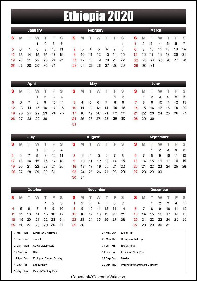 Ethiopian Calendar 2022.Printable Ethiopia Calendar 2020 With Holidays Public Holidays