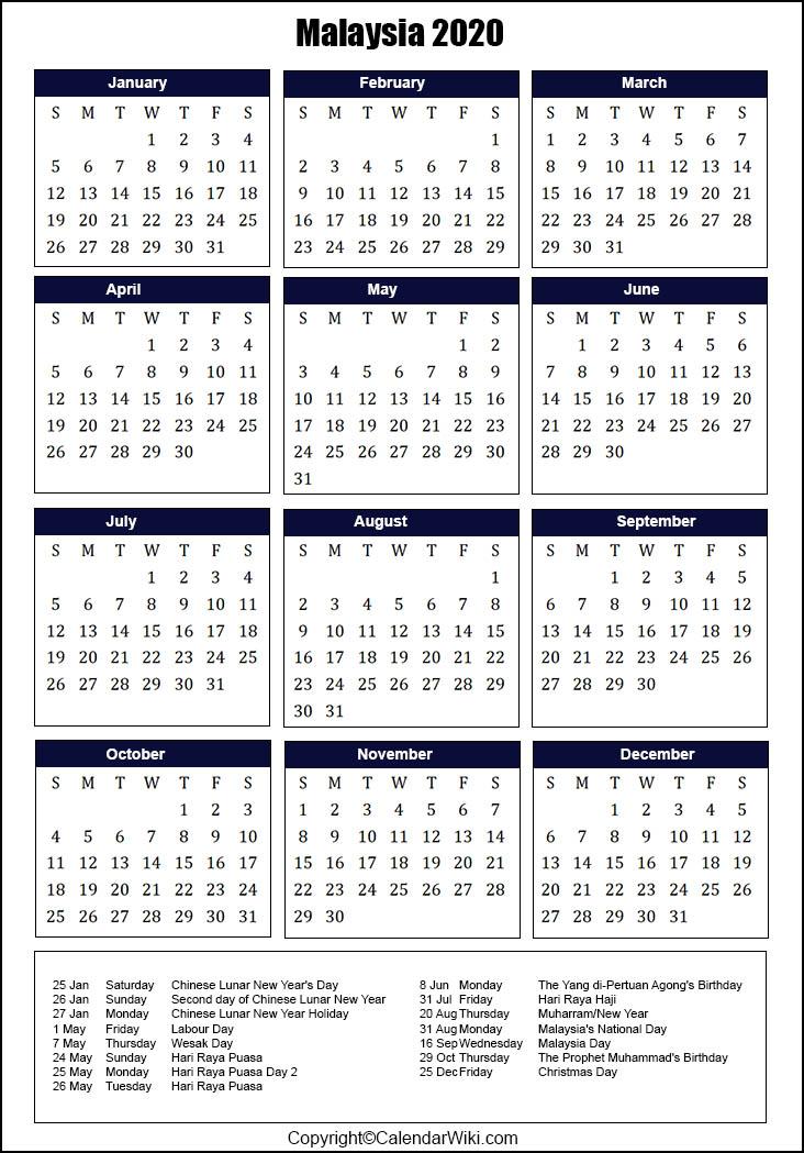 Printable Malaysia Calendar 2020 With Holidays Public Holidays