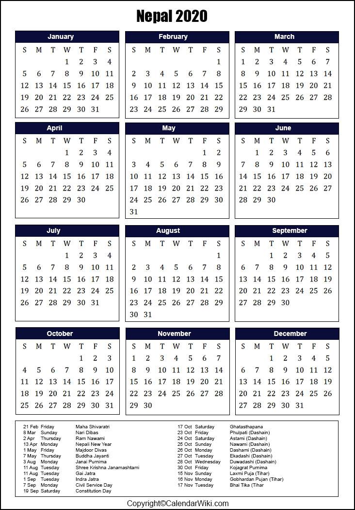 Nepali Calendar 2022.Printable Nepal Calendar 2020 With Holidays Public Holidays