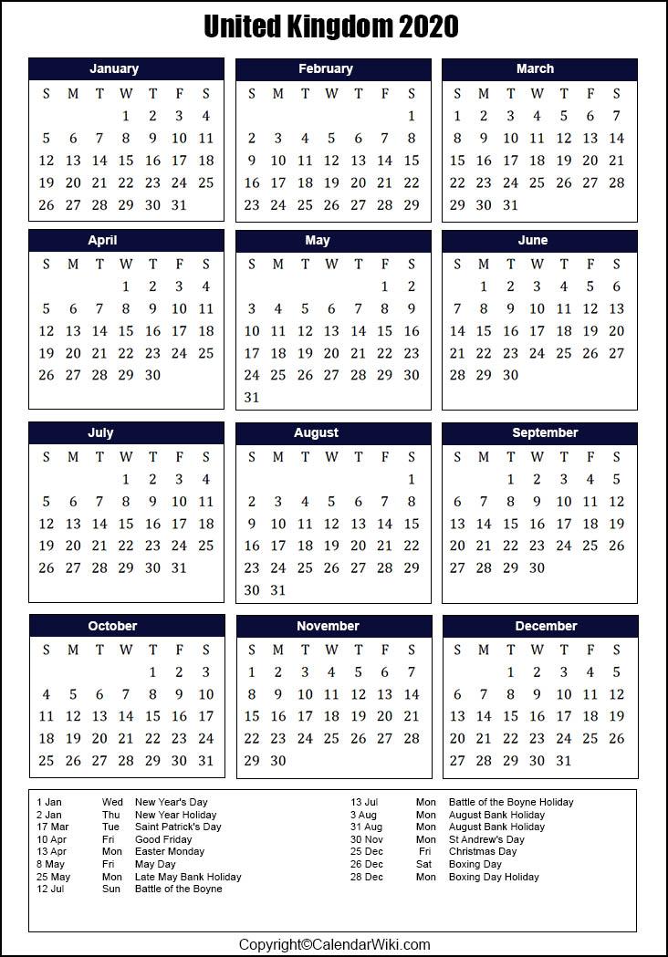 2021 Bank Holidays In Uk / Excel Calendar 2020 Uk 16 ...