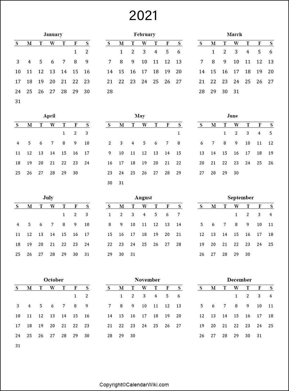 Annual Calendar 2021