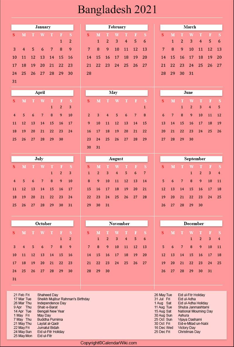 Bangladesh Calendar 2021 Pictures