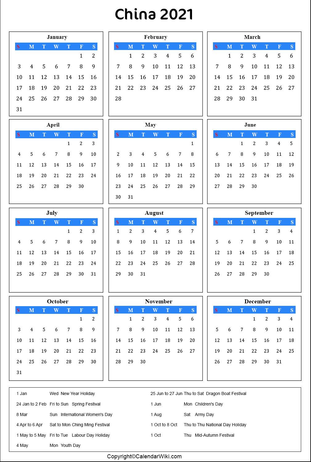 Printable China Calendar 2021 With Holidays Public Holidays