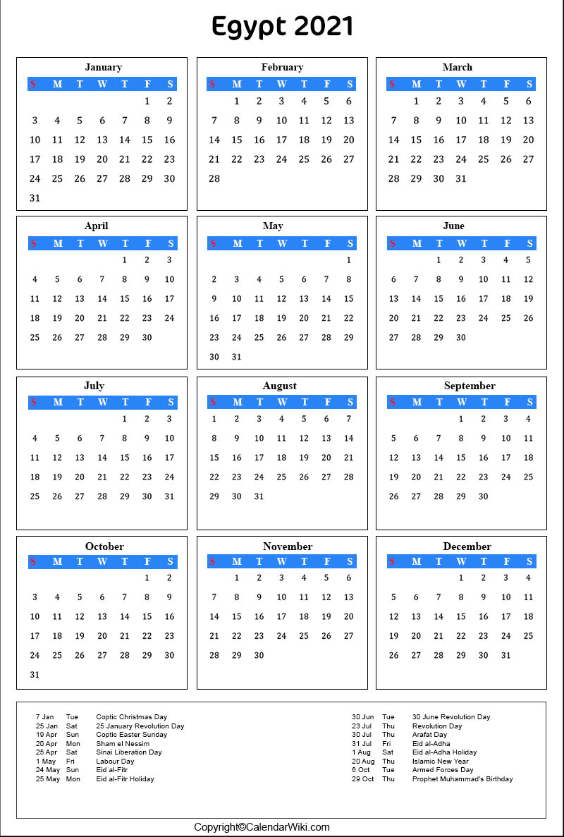 Printable Egypt Calendar 2021 with Holidays Public Holidays