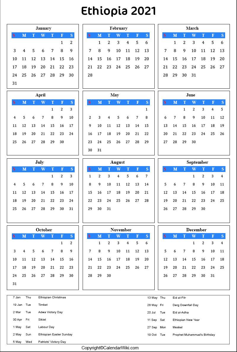 Ethiopian Calendar 2022.Printable Ethiopia Calendar 2021 With Holidays Public Holidays