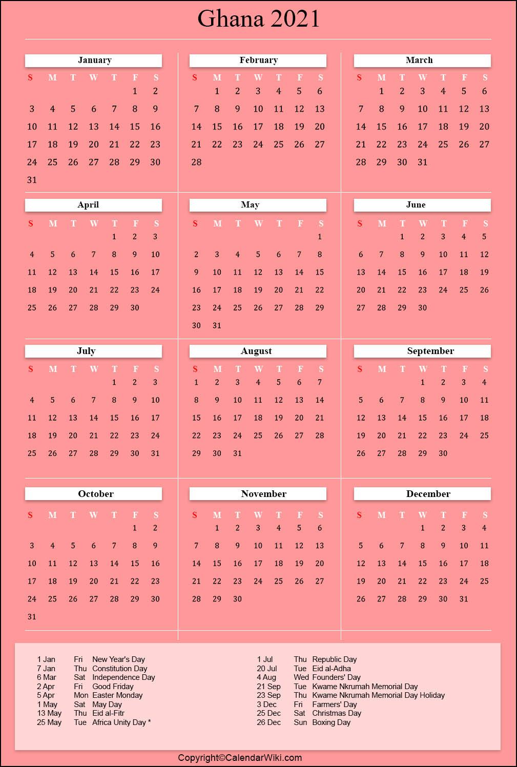 Printable Ghana Calendar 2021 with Holidays Public Holidays