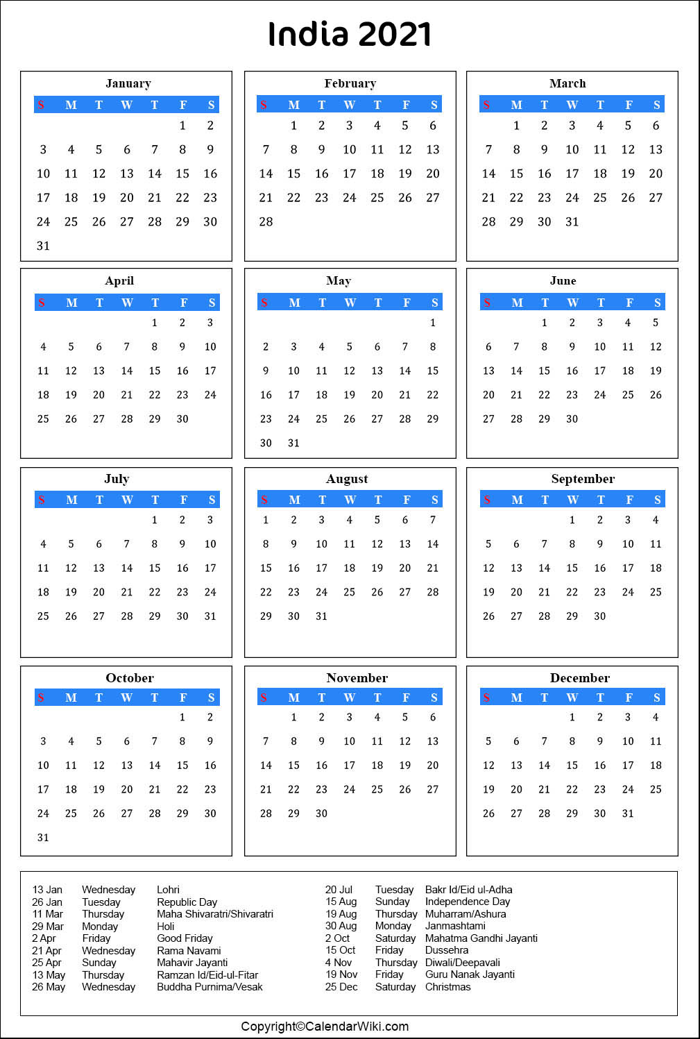 Images of Holiday Calendar 2021 India