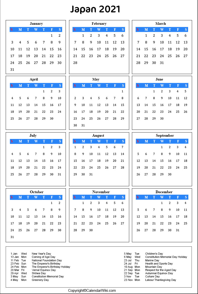 Photos of Japanese Holiday Calendar 2021
