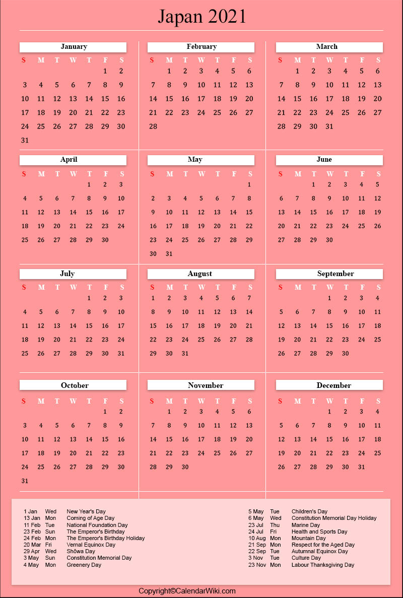Japanese Holiday Calendar 2021 Pictures
