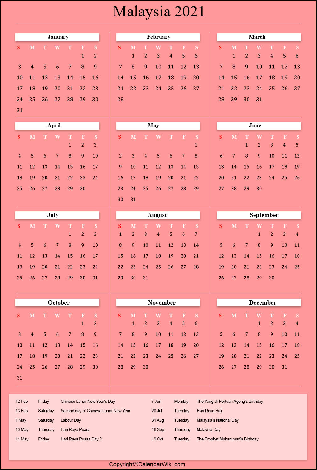 Printable Malaysia Calendar 2021 with Holidays [Public ...