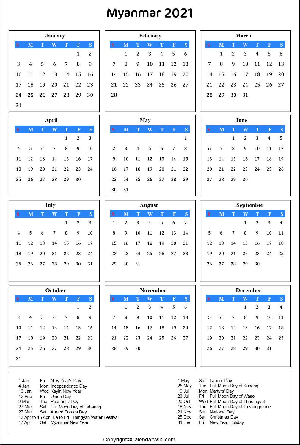 Printable Myanmar Calendar 2021 with Holidays [Public Holidays]