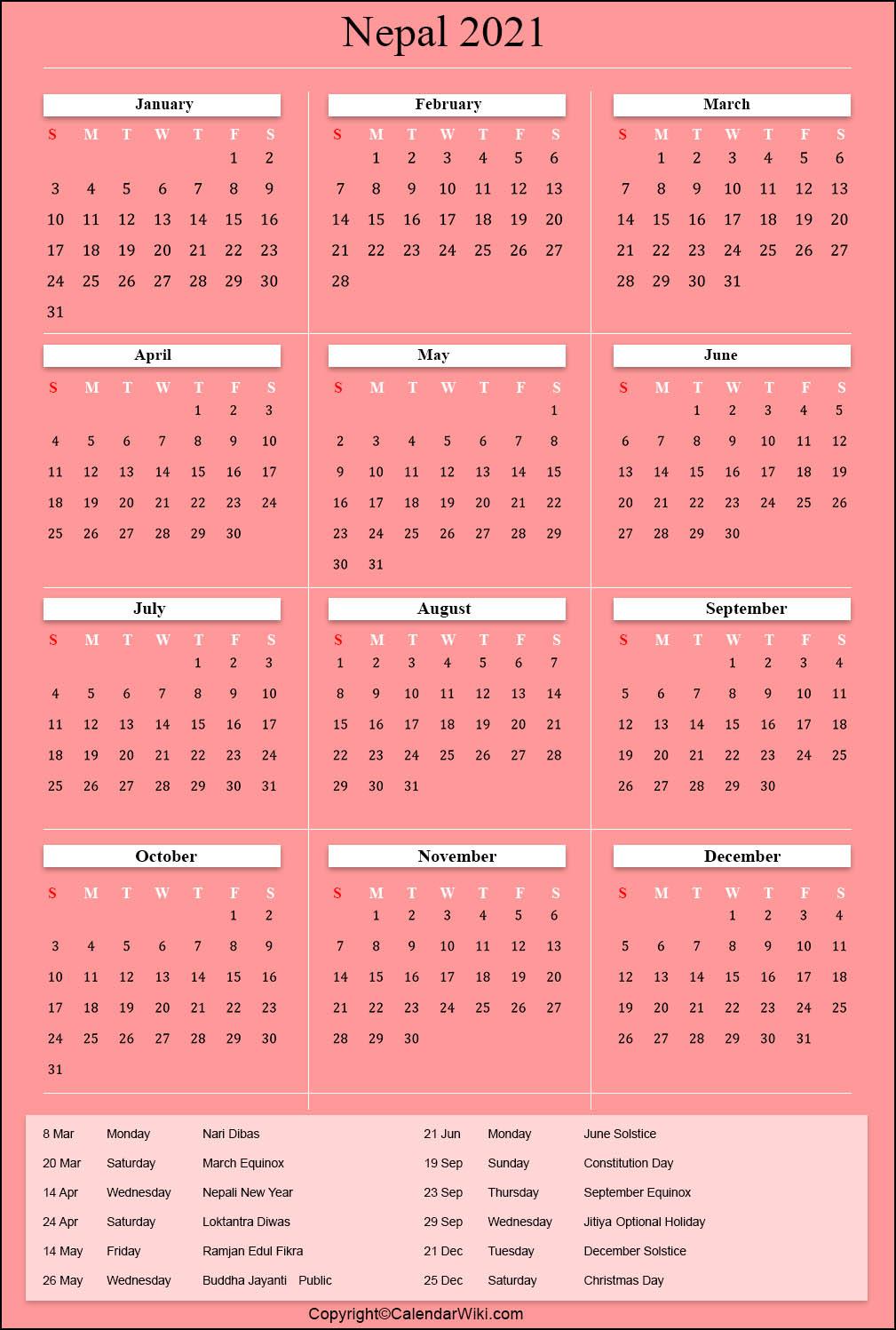 Printable Nepal Calendar 2021 with Holidays [Public Holidays]