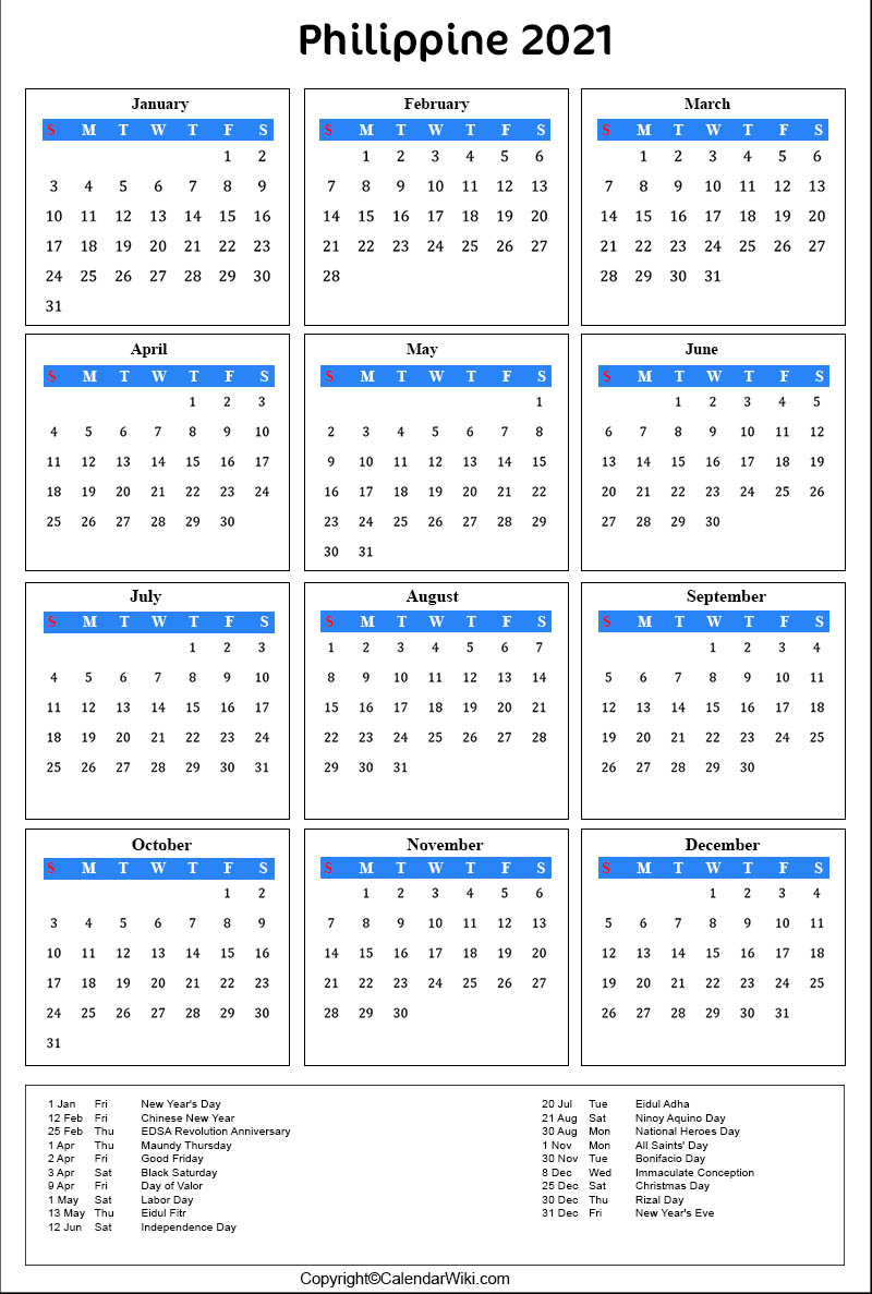 Calendar 2021 Printable With Holidays Philippines