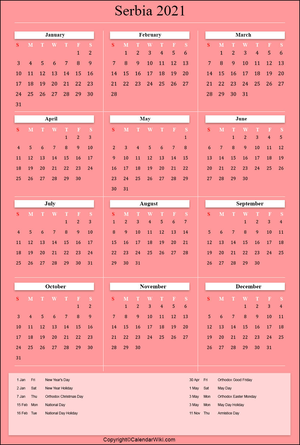 Printable Serbia Calendar 2021 with Holidays [Public Holidays]
