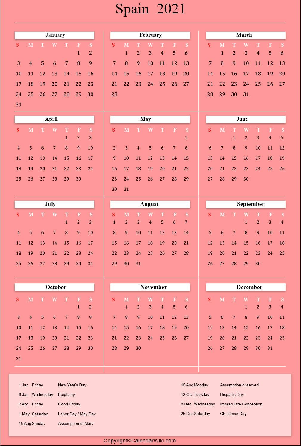 Printable Spain Calendar 2021 With Holidays Public Holidays