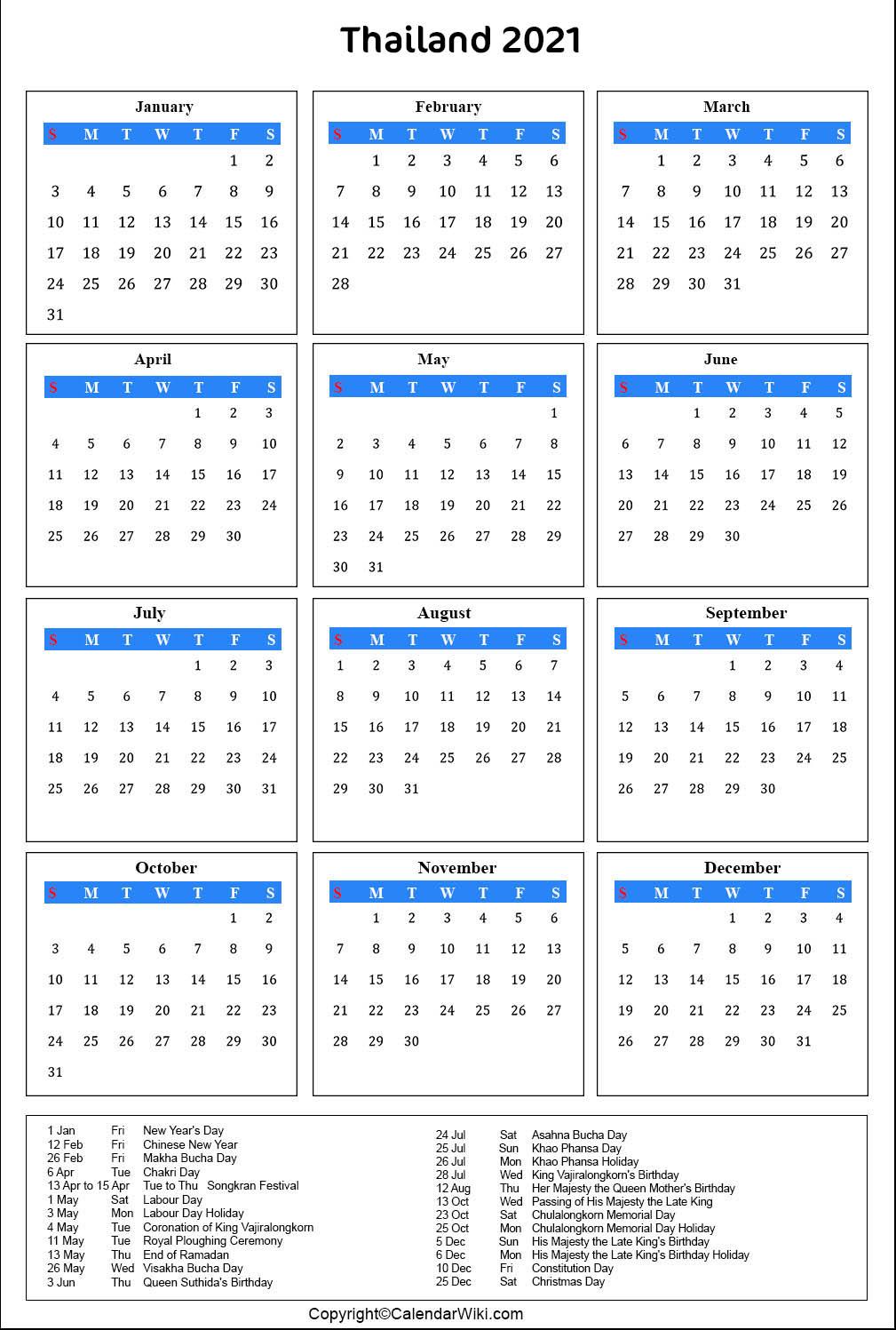 Printable Thailand Calendar 2021 with Holidays [Public ...
