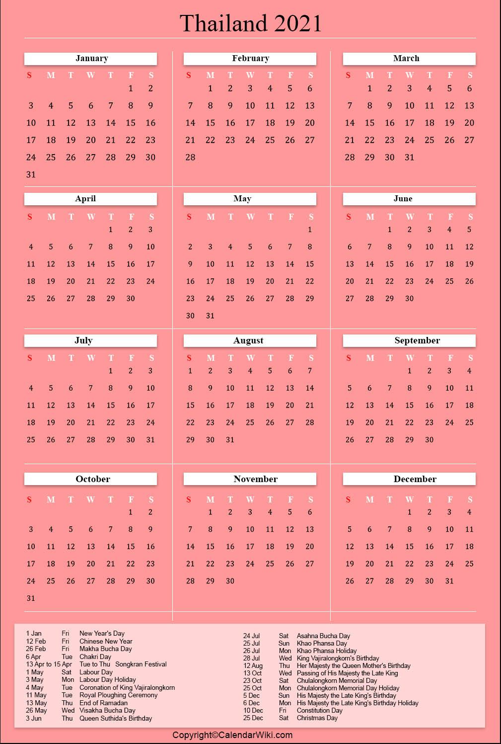Full Moon Calendar 2021 Thailand | Calendar 2021