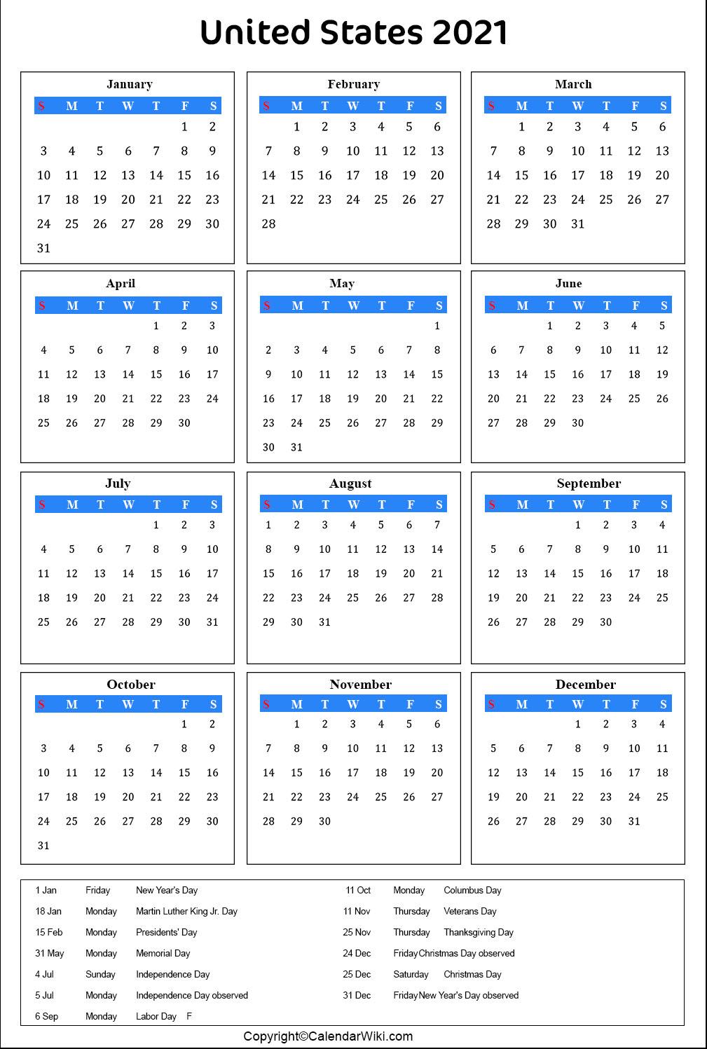 Us Calendar 2021