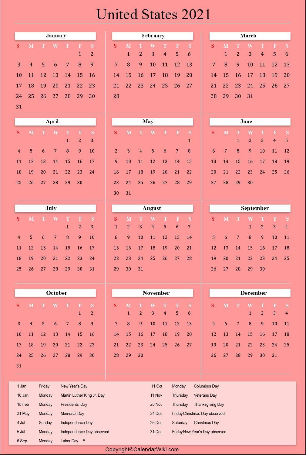 Us Holidays 2021