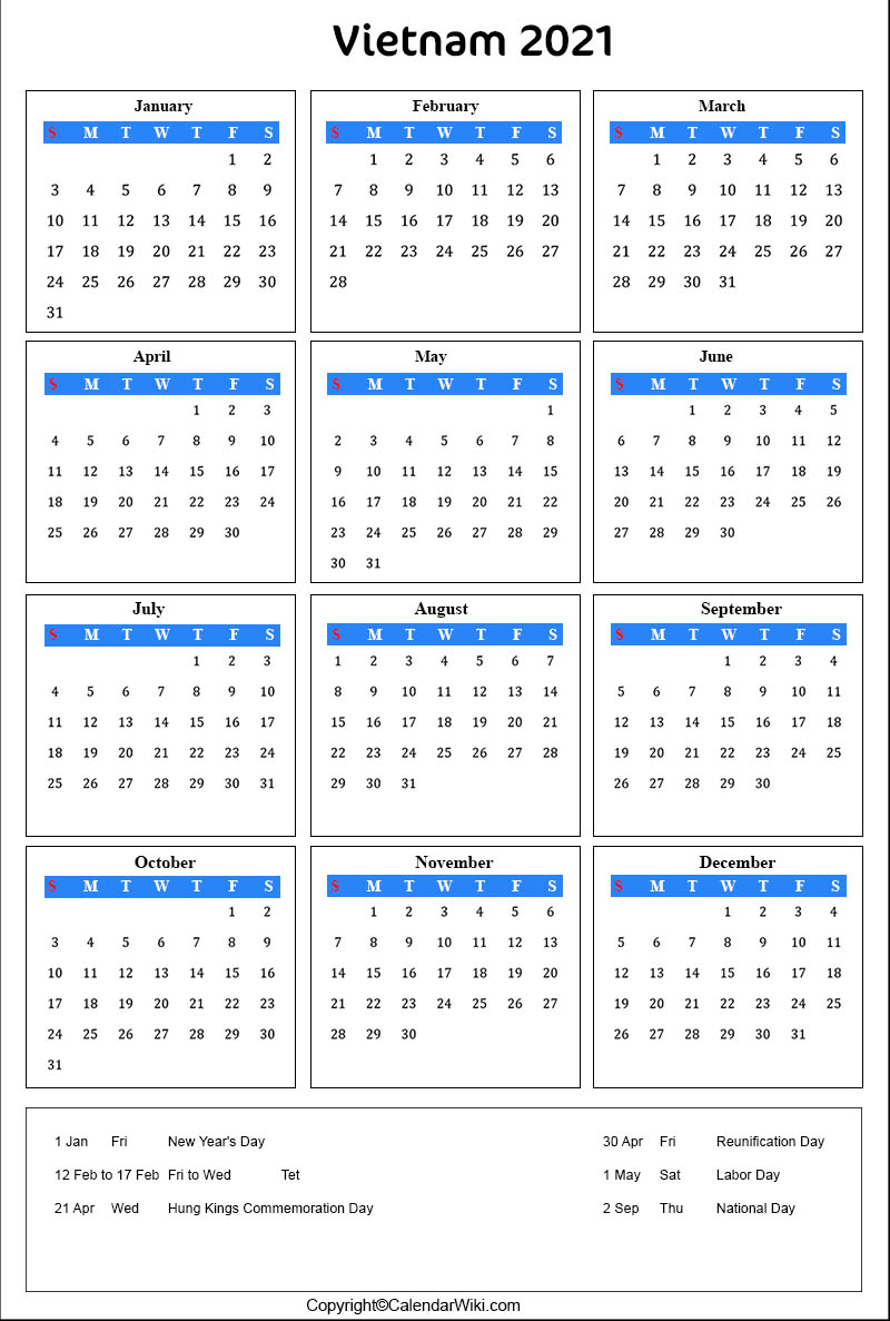 Vietnamese Calendar 2022.Printable Vietnam Calendar 2021 With Holidays Public Holidays