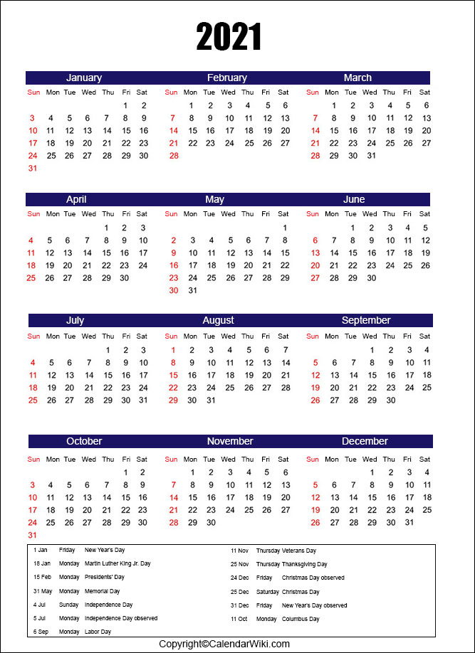 Calendar 2021 Holidays