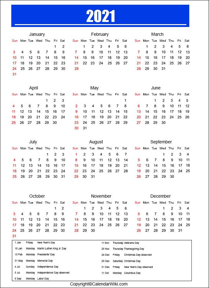 Holiday Calendar 2021