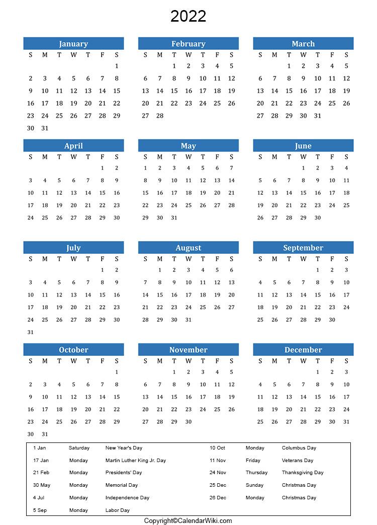 2023 And 2022 Calendar With Holidays.Holidays 2022 Calendarwiki Com